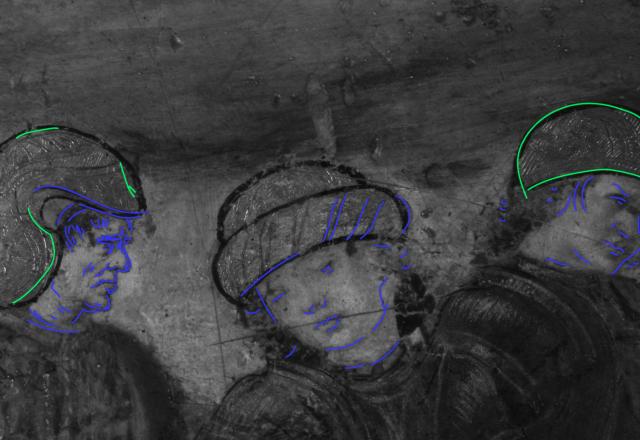 Relevé de la technique d'execution en réfélctographie IR- Le Triomphe.  Tracé vert: incisions  Tracé bleu: pinceau /@Arcanes