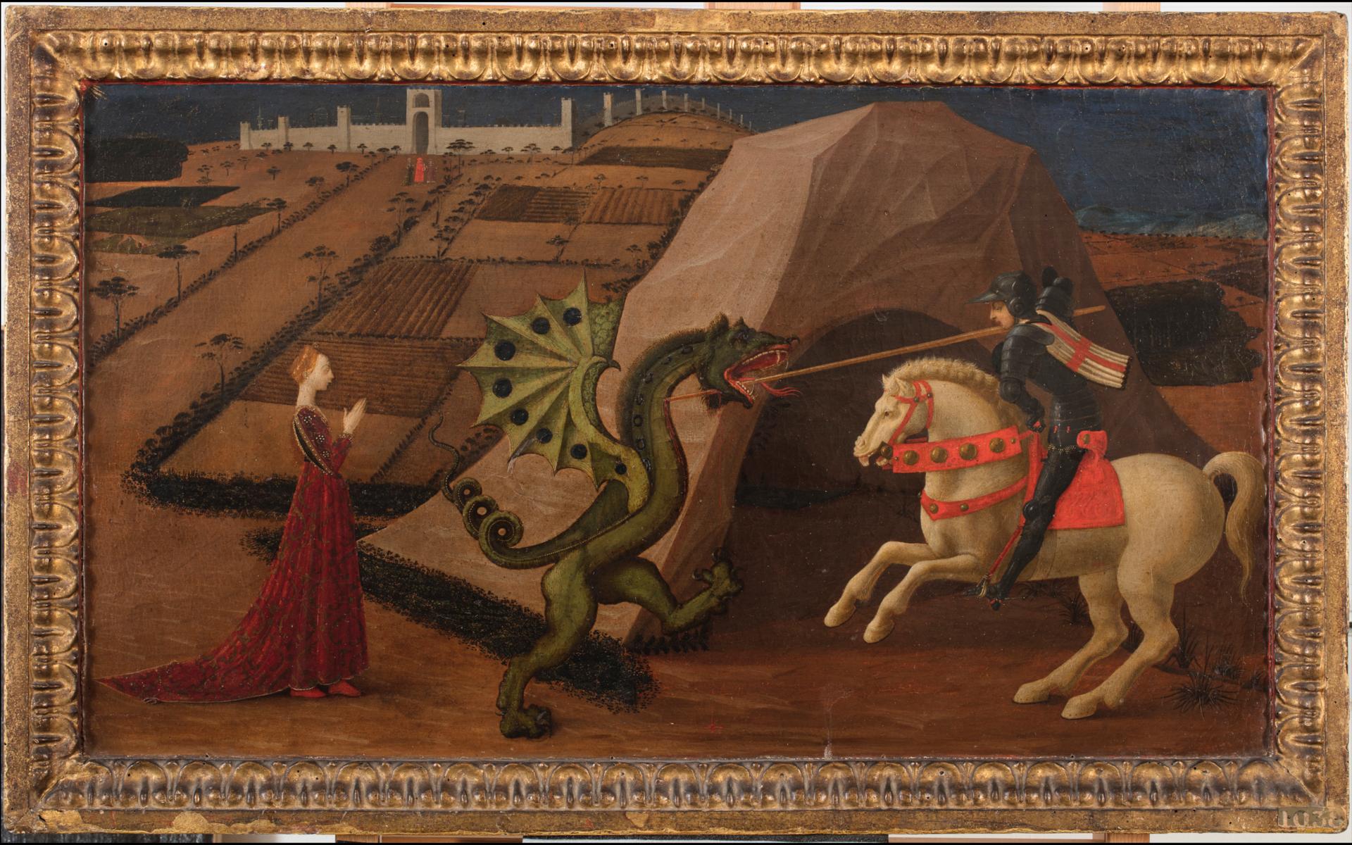 Saint Georges et le dragon,vue générale en lumière directe avant restauration /©Arcanes