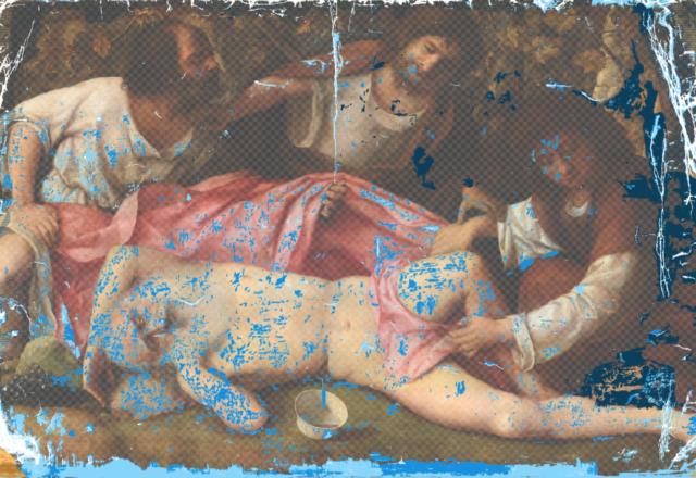 G.BELLINI - schéma des repeints (bleus) superposés sur les lacunes (blanc)