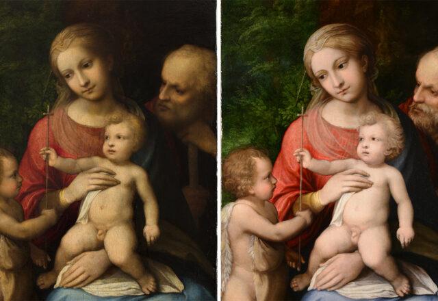 La vierge à l'Enfant avec saint Jean-Baptiste de Corrège avant/après restauration / ©Arcanes