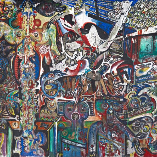 Remise en tension de sept toiles de grand format